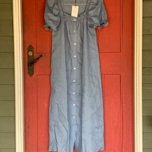 4dabf96a4de sleeper Dresses - Sleeper Brigitte Blue Linen Maxi Dress